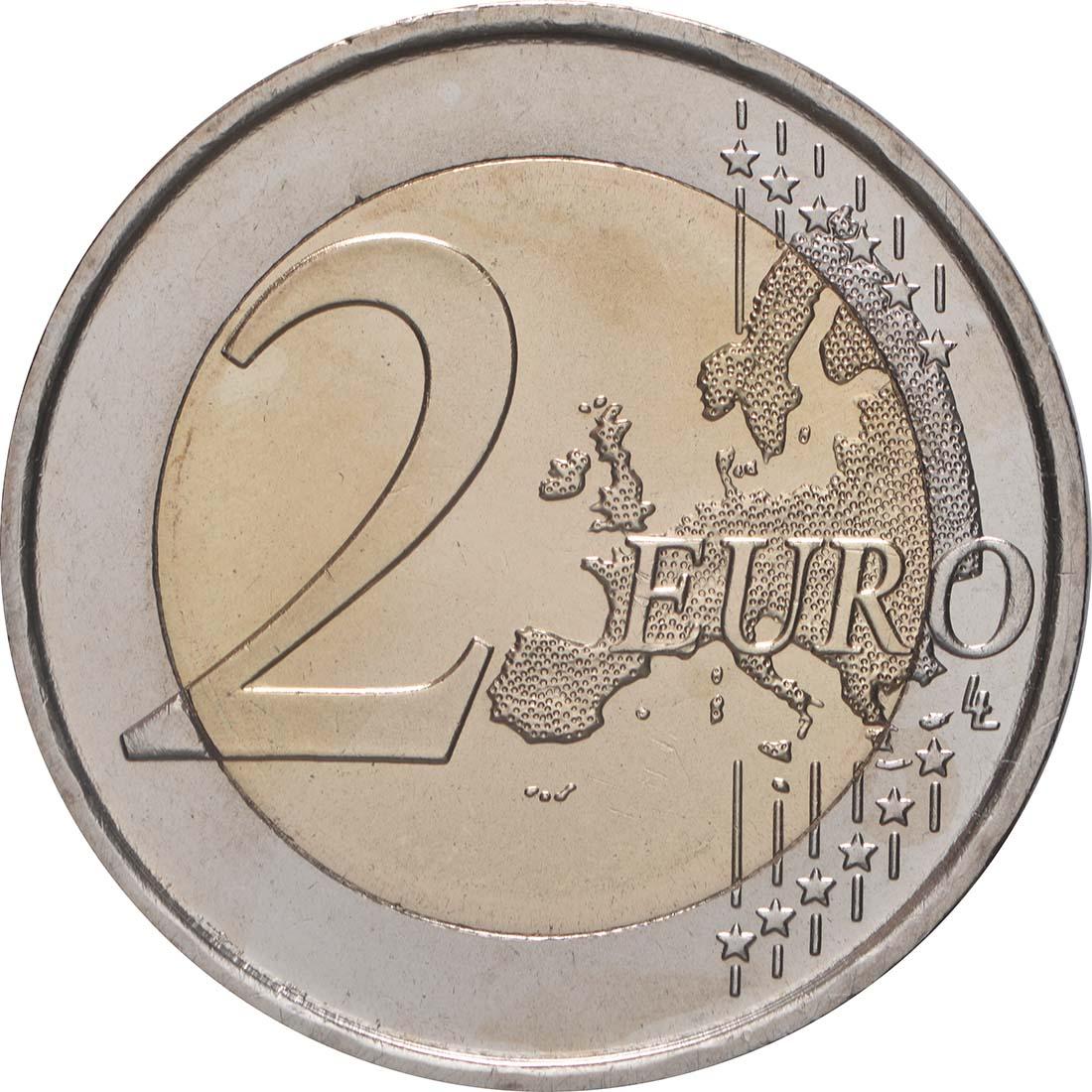 Vorderseite:Spanien : 2 Euro 10 Jahre Euro  2009 bfr