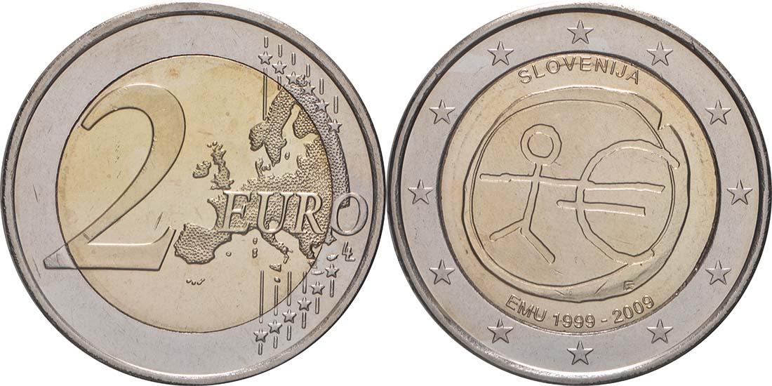 Lieferumfang:Slowenien : 2 Euro 10 Jahre Euro  2009 bfr
