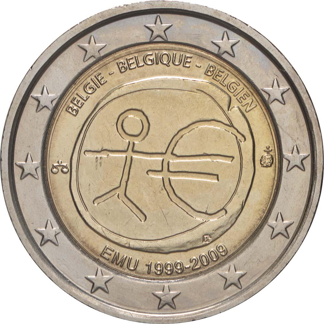 Rückseite:Belgien : 2 Euro 10 Jahre Euro  2009 bfr