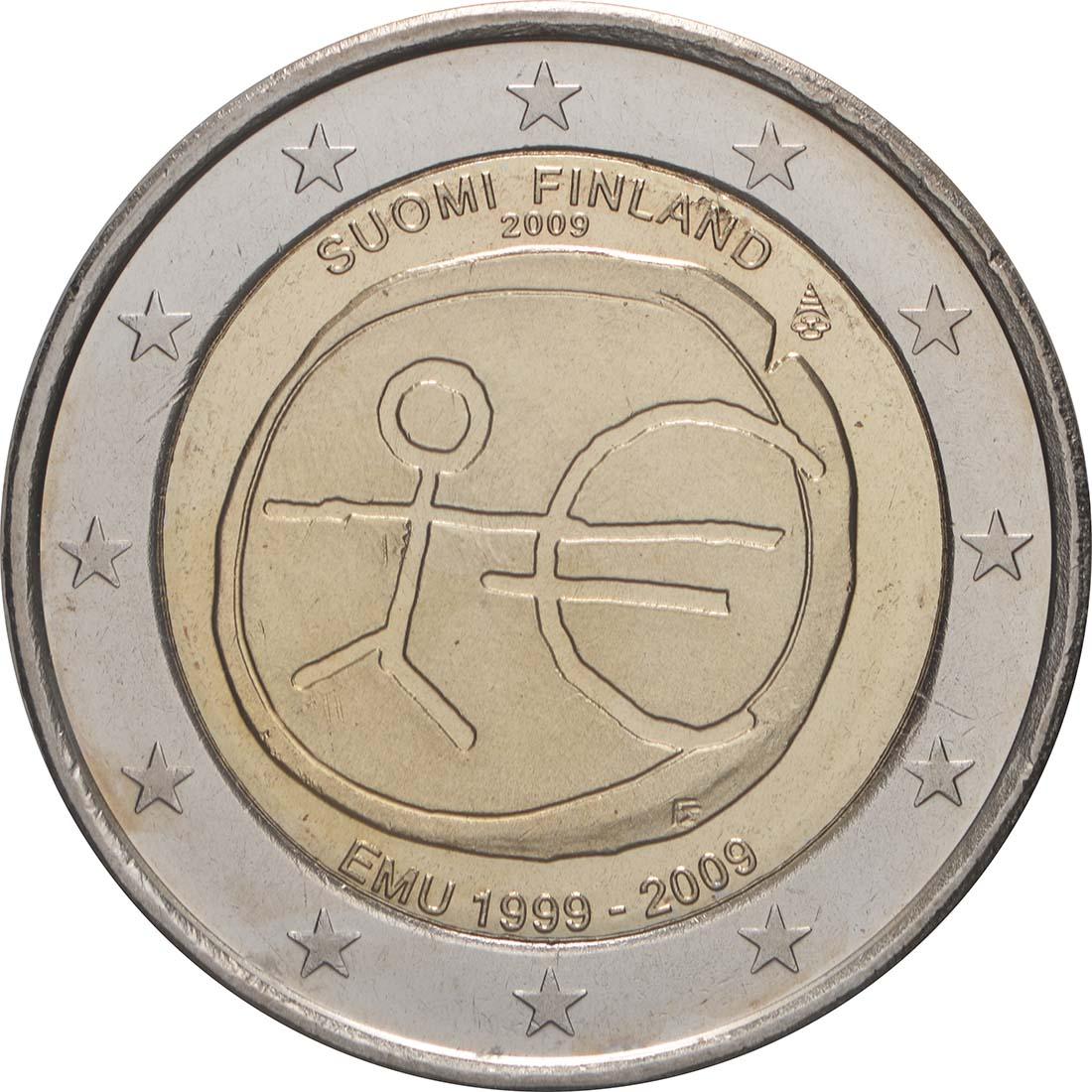 Rückseite:Finnland : 2 Euro 10 Jahre Euro  2009 bfr