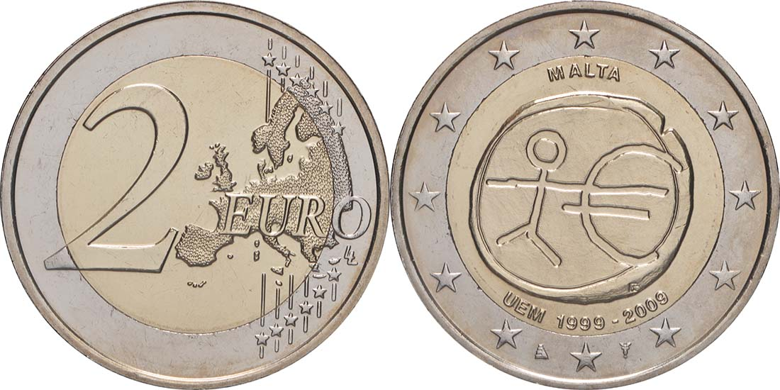 Lieferumfang:Malta : 2 Euro 10 Jahre Euro  2009 bfr