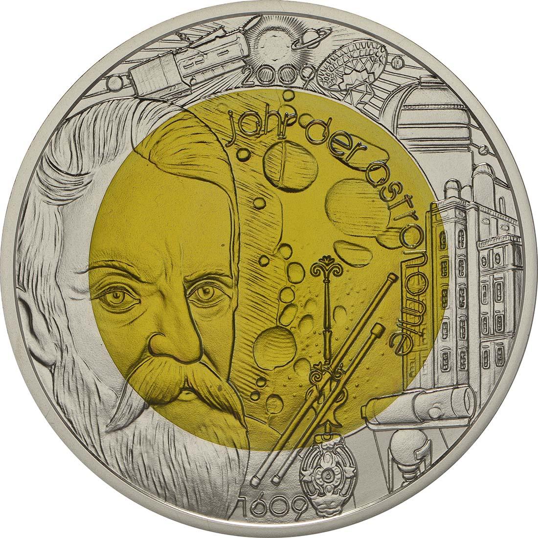 Vorderseite :Österreich : 25 Euro Jahr der Astronomie  2009 Stgl. 25 Euro Niob 2009; 25 Euro Astronomie 2009