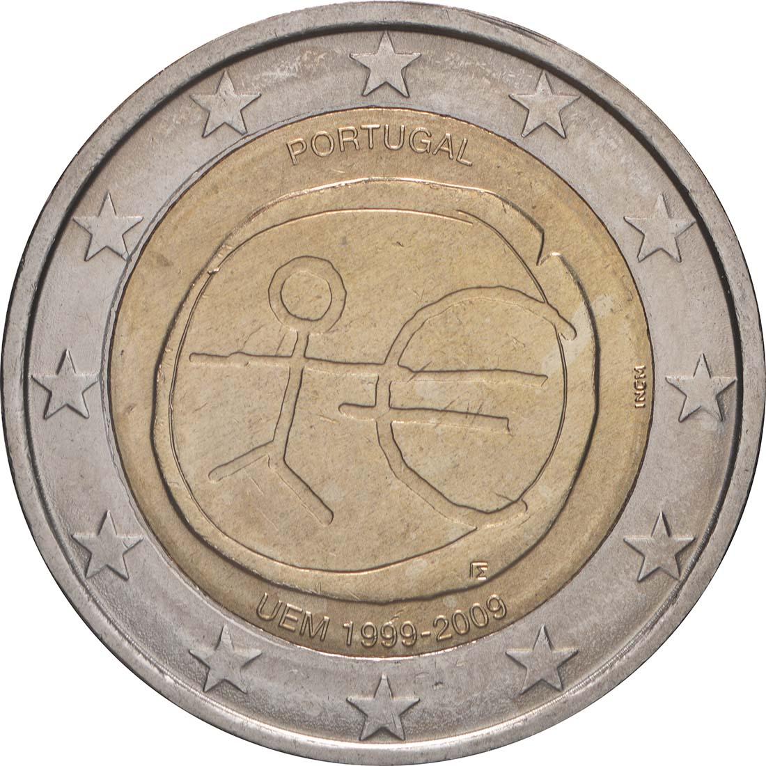 Rückseite:Portugal : 2 Euro 10 Jahre Euro  2009 bfr
