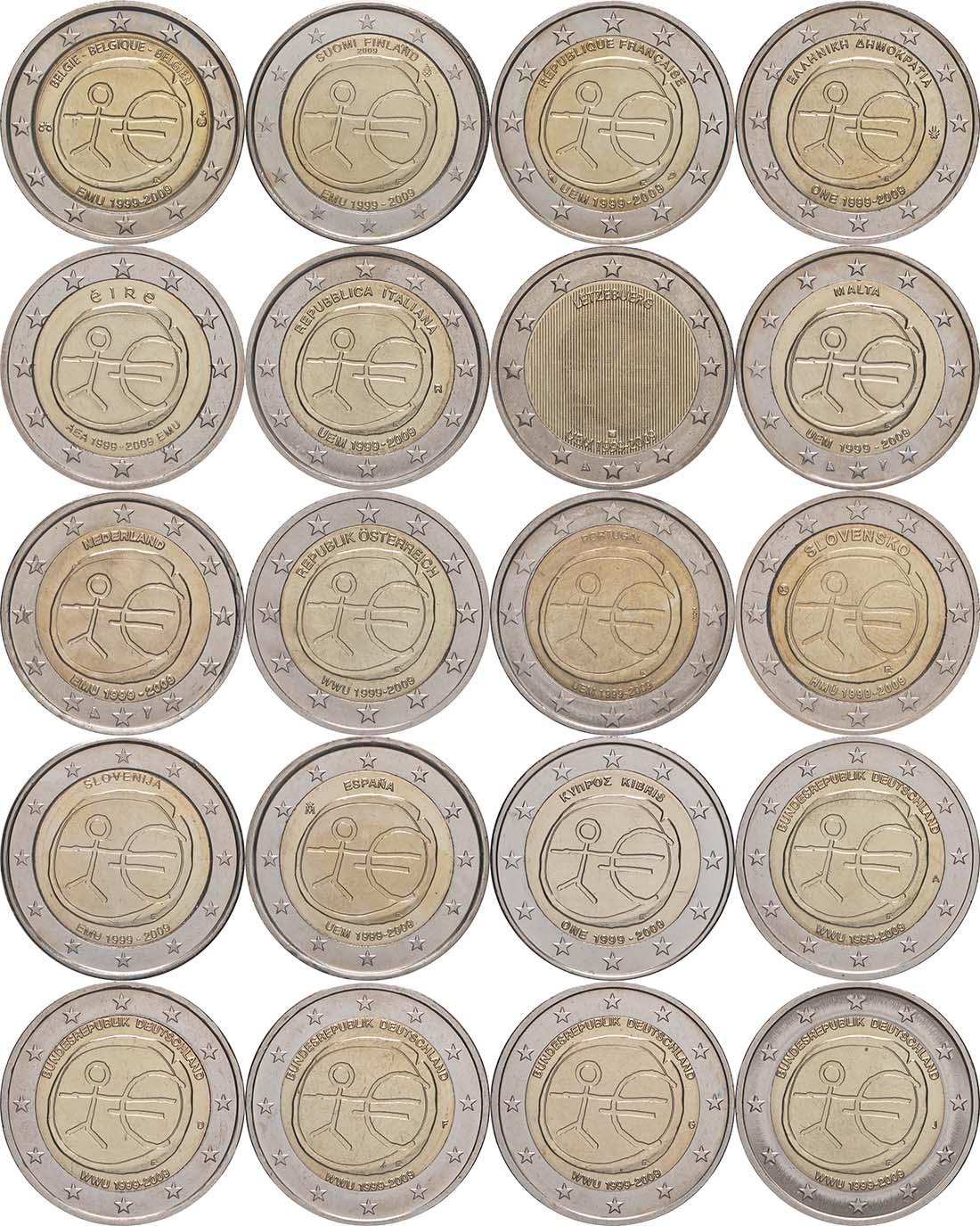 Lieferumfang:International : 2 Euro 10 Jahre Euro, Set aus 20 Münzen = 16 Länder : Belgien, Deutschland (A,D,F,G,J), Finnland, Frankreich, Griechenland, Irland, Italien, Luxemburg, Niederlande, Malta, Österreich, Portugal, Slowakei, Slowenien, Spanien, Zypern  2009 bfr Komplettkollektion 2-Euro-Gedenkmünzen WWU