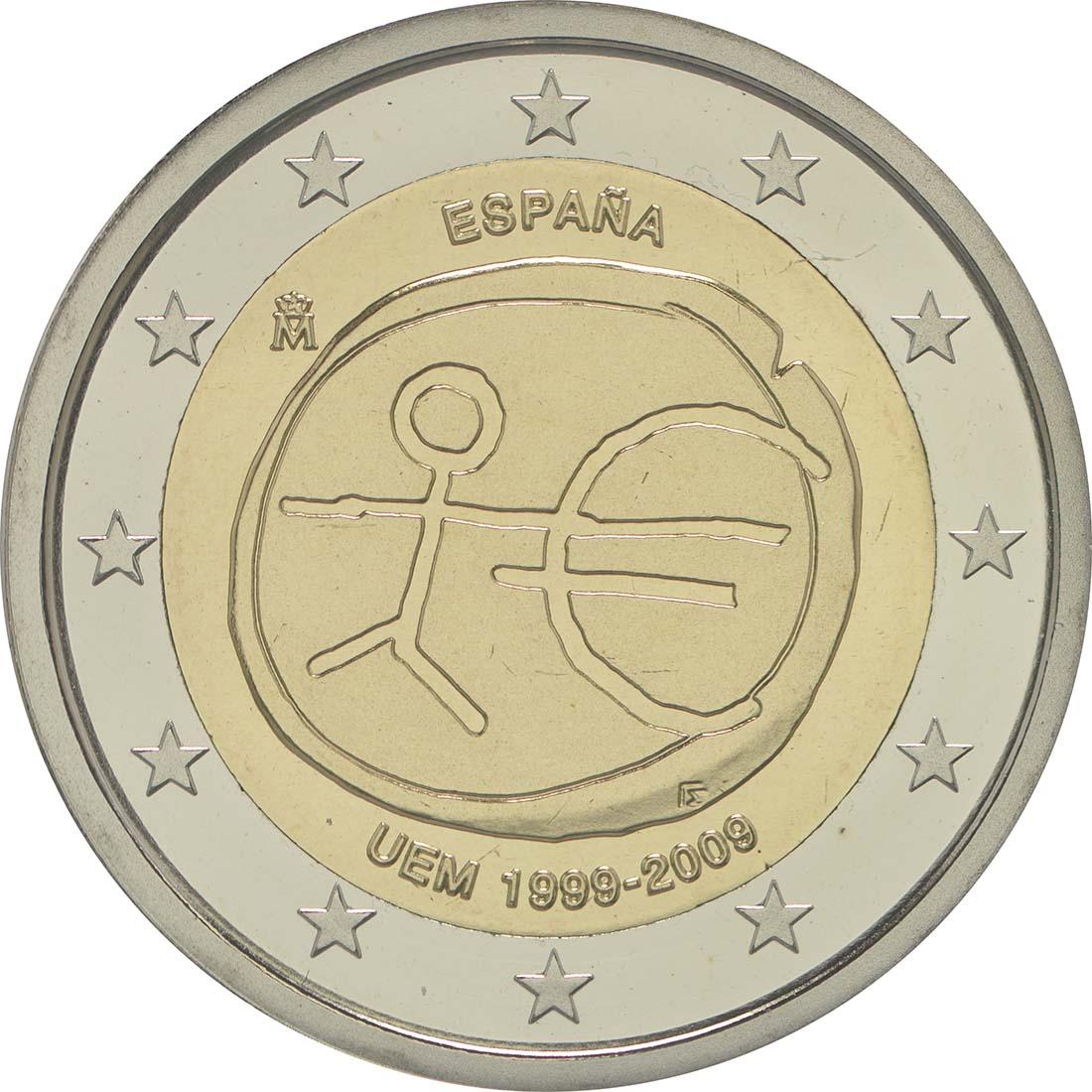 Rückseite:Spanien : 2 Euro 10 Jahre Euro  2009 PP