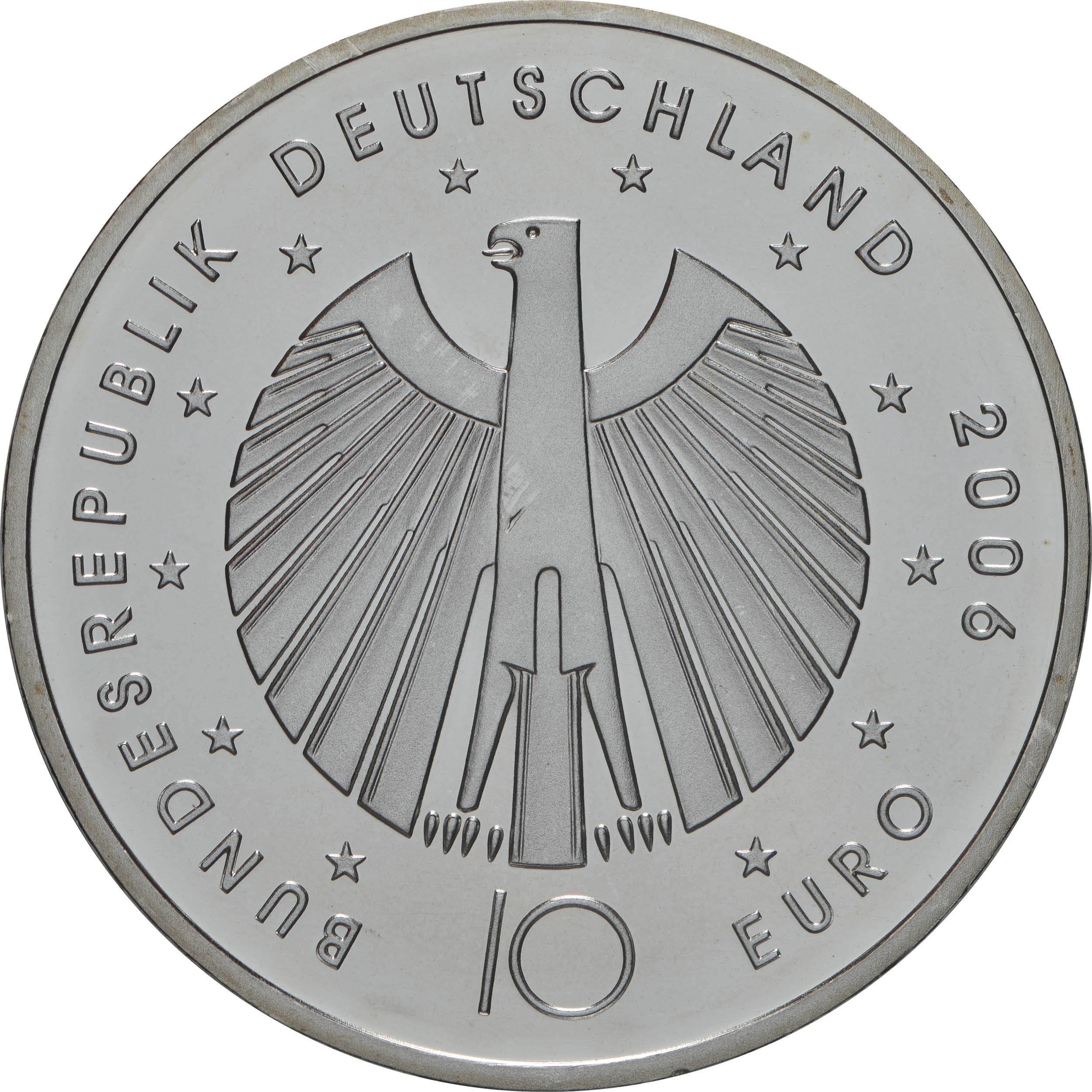 Rückseite:Deutschland : 10 Euro IV. Ausgabe FIFA Fußball WM Deutschland  2006  2006 bfr