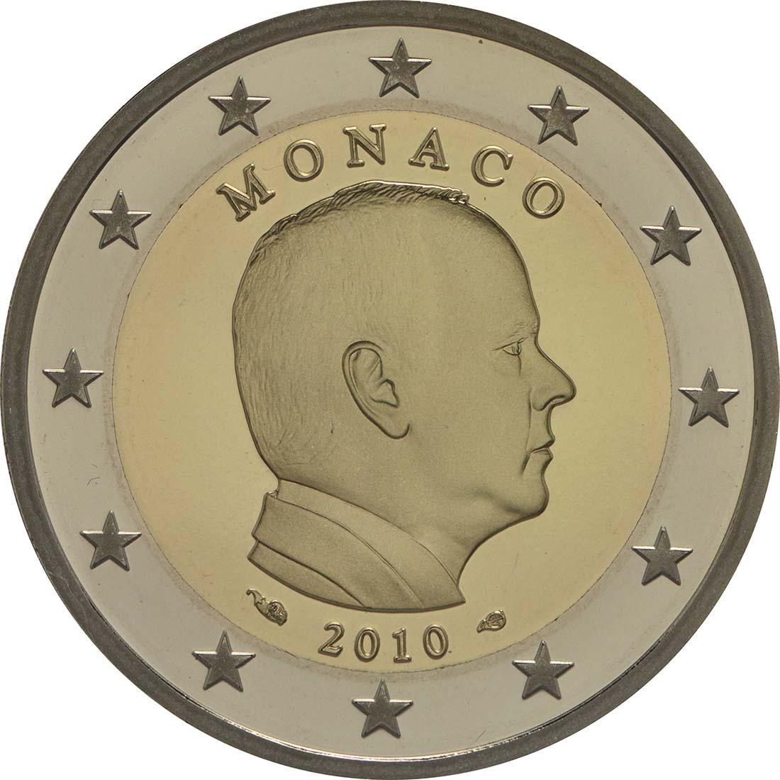 Rückseite:Monaco : 2 Euro Albert II.  2010 PP
