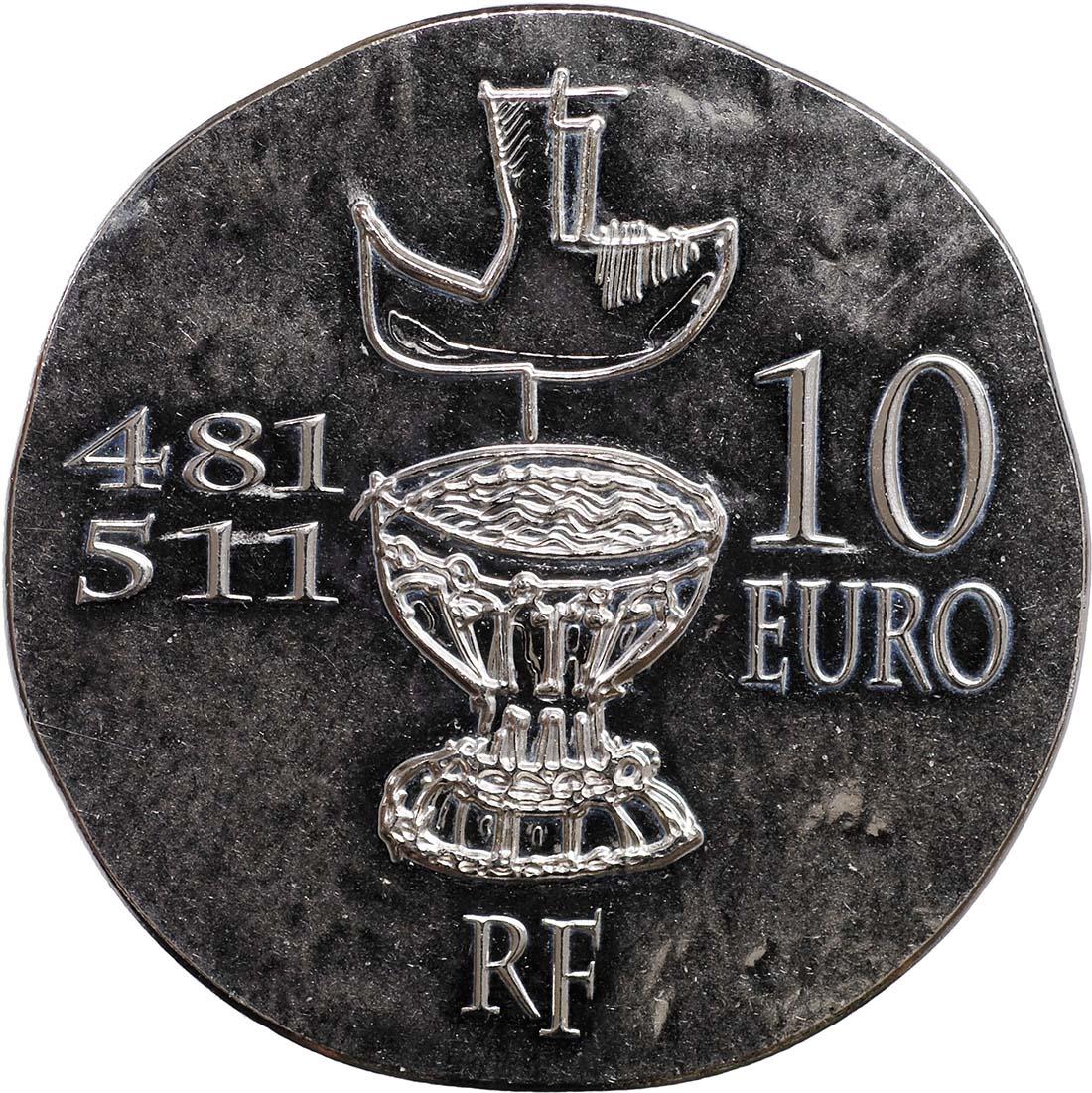 Rückseite:Frankreich : 10 Euro Clovis  2011 Stgl.