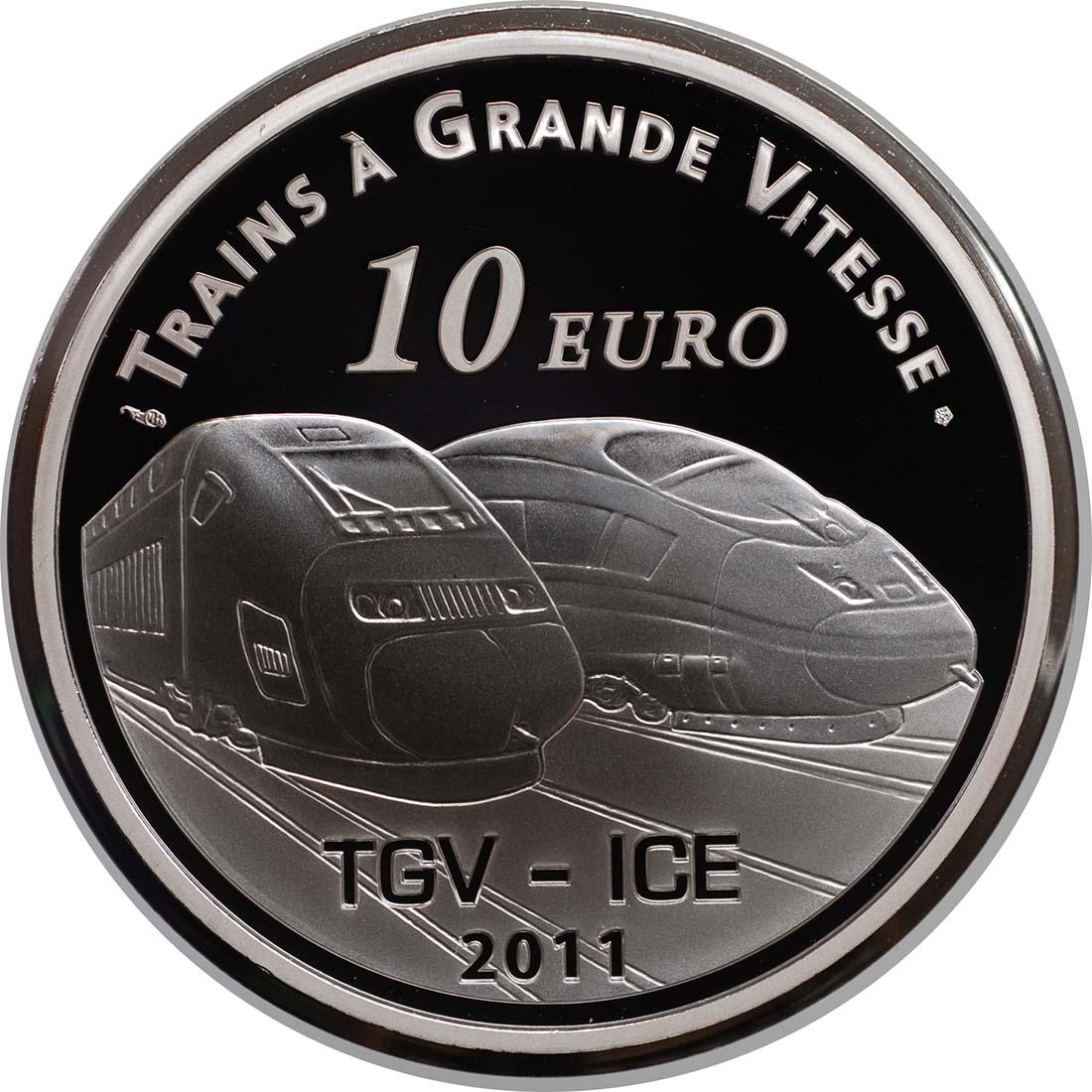 Vorderseite:Frankreich : 10 Euro TGV und ICE Station Metz  2011 PP