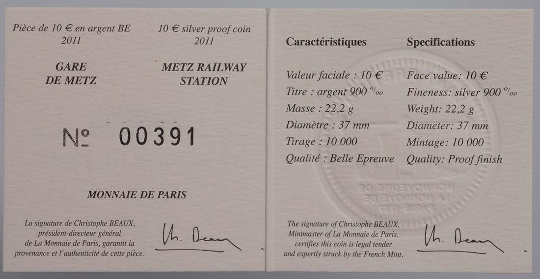 Zertifikat:Frankreich : 10 Euro TGV und ICE Station Metz  2011 PP