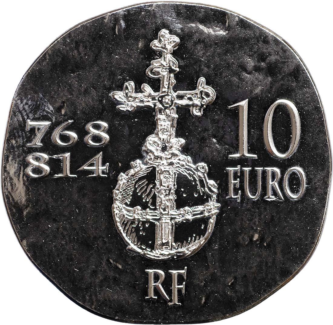 Rückseite:Frankreich : 10 Euro Karl der Große  2011 Stgl. Charlemagne