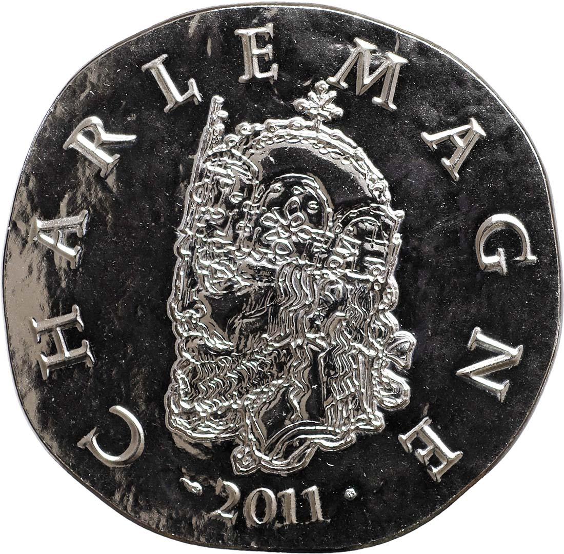 Vorderseite:Frankreich : 10 Euro Karl der Große  2011 Stgl. Charlemagne