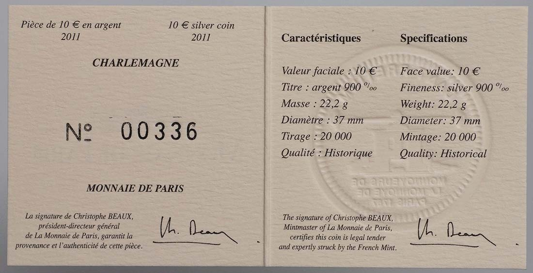 Zertifikat:Frankreich : 10 Euro Karl der Große  2011 Stgl. Charlemagne