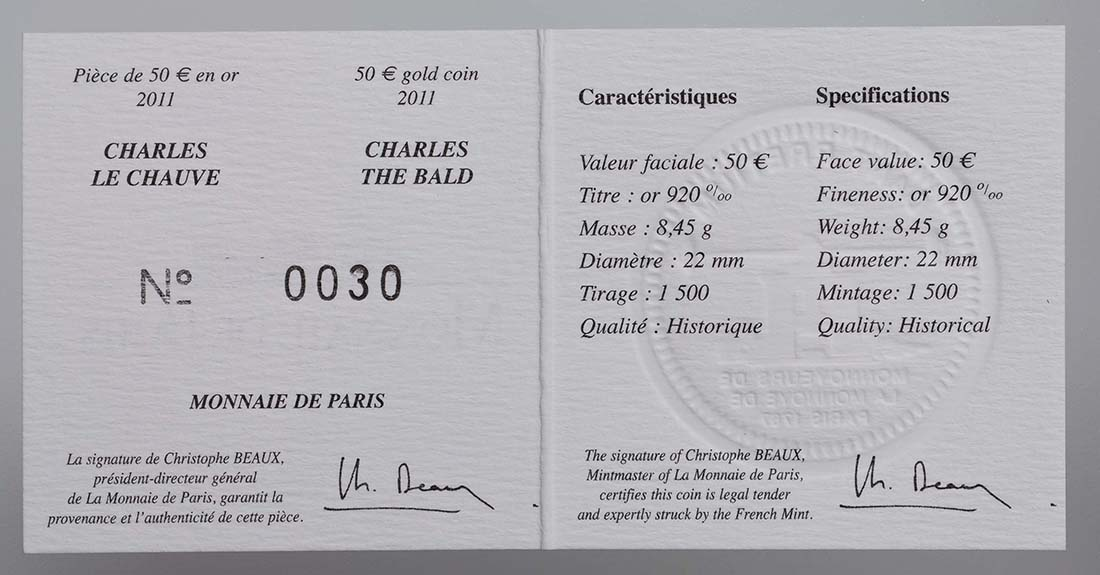 Zertifikat:Frankreich : 50 Euro Karl der Kahle  2011 Stgl.