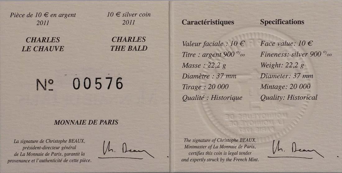 Zertifikat:Frankreich : 10 Euro Karl der Kahle  2011 Stgl.