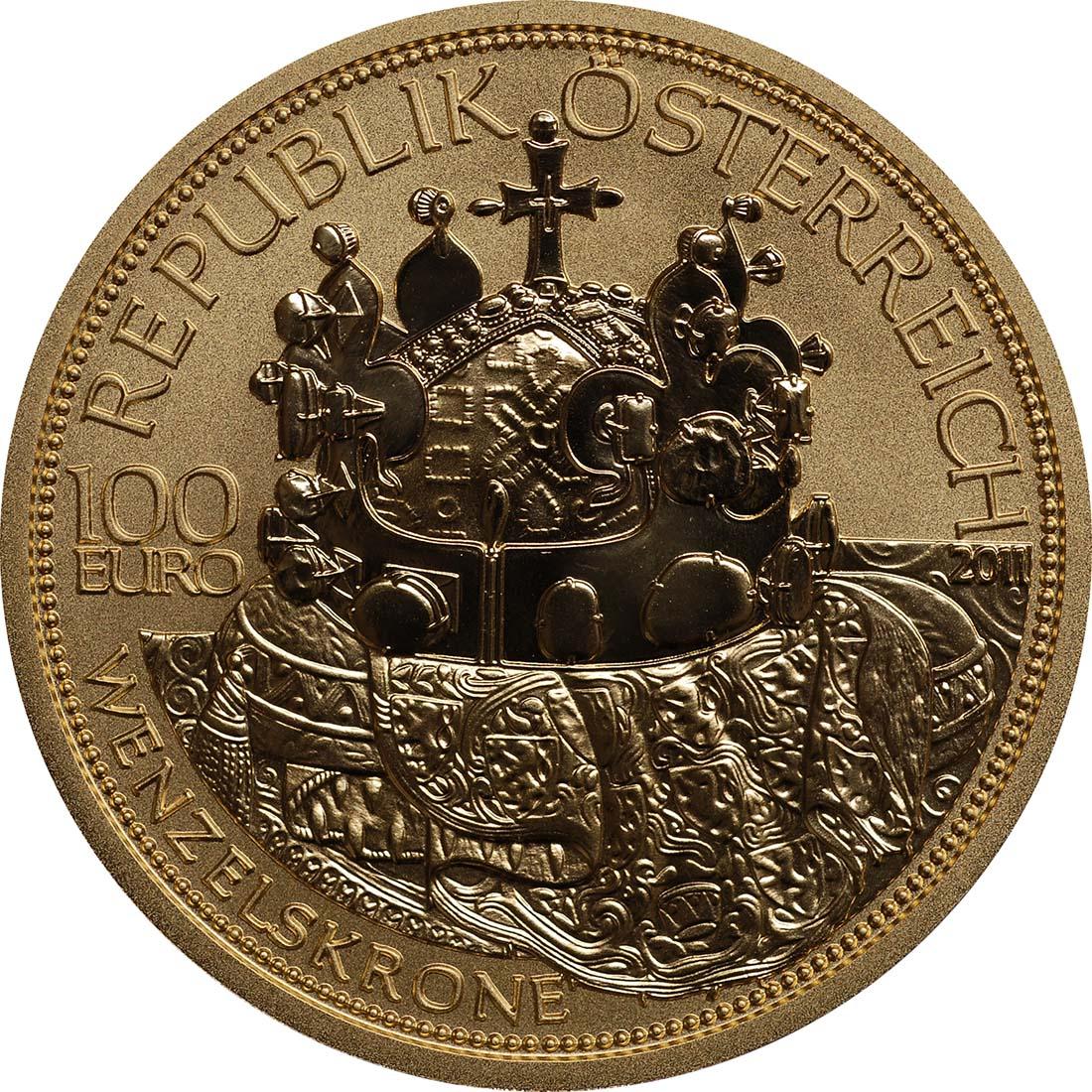 Rückseite:Österreich : 100 Euro Die Wenzelskrone Böhmens  2011 PP
