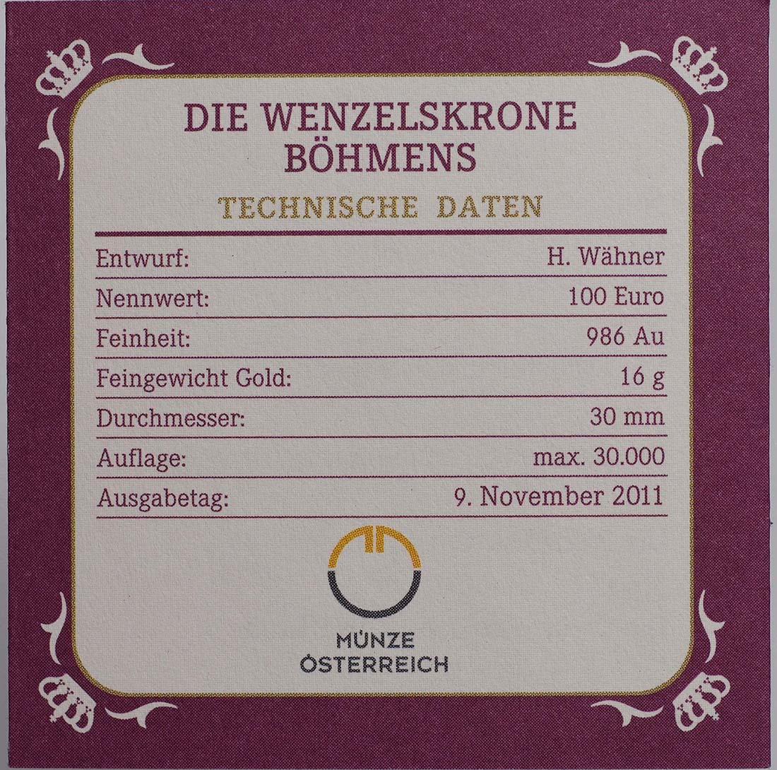 Zertifikat:Österreich : 100 Euro Die Wenzelskrone Böhmens  2011 PP