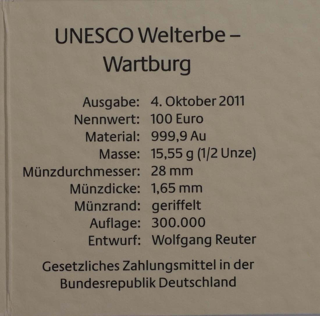 Zertifikat:Deutschland : 100 Euro Wartburg bei Eisenach  2011 Stgl.