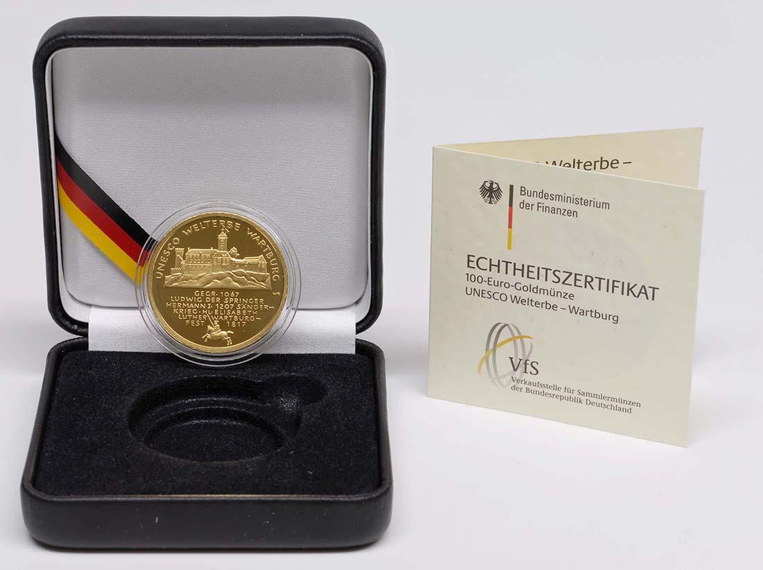 Lieferumfang :Deutschland : 100 Euro Wartburg bei Eisenach Komplettset A,D,F,G,J 5 Münzen  2011 Stgl.