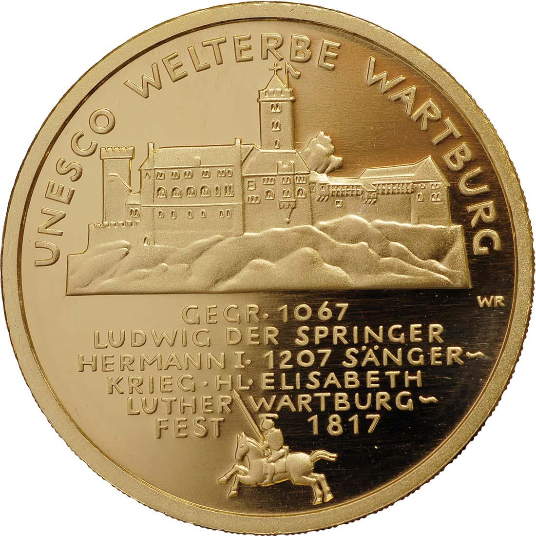 Vorderseite :Deutschland : 100 Euro Wartburg bei Eisenach Komplettset A,D,F,G,J 5 Münzen  2011 Stgl.