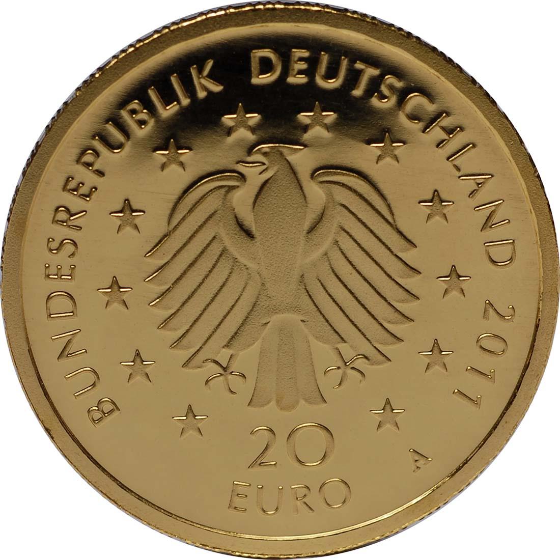 Rückseite:Deutschland : 20 Euro Buche Komplettsatz 5 Münzen ADFGJ  2011 Stgl.