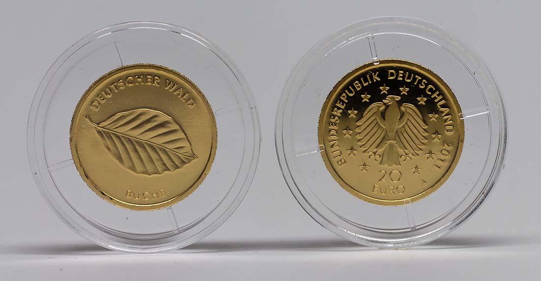 Lieferumfang :Deutschland : 20 Euro Buche Komplettsatz 5 Münzen ADFGJ  2011 Stgl.