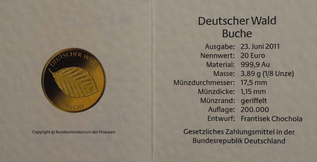 Zertifikat :Deutschland : 20 Euro Buche Buchstabe unserer Wahl  2011 Stgl.