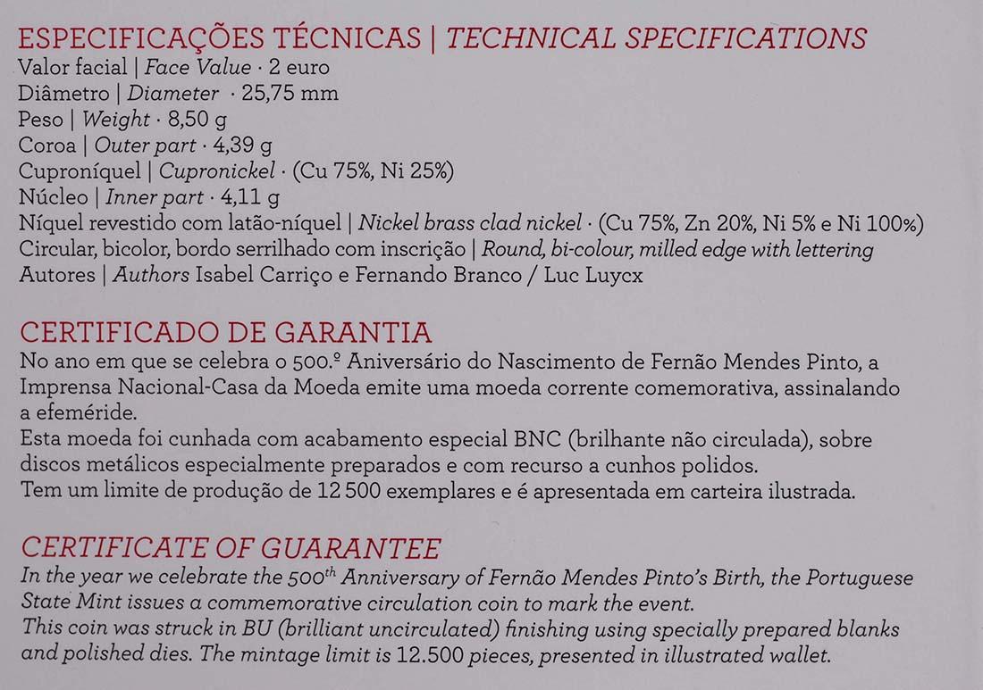 Zertifikat :Portugal : 2 Euro 500. Geburtstag von Fernao Mendes Pinto  2011 Stgl.