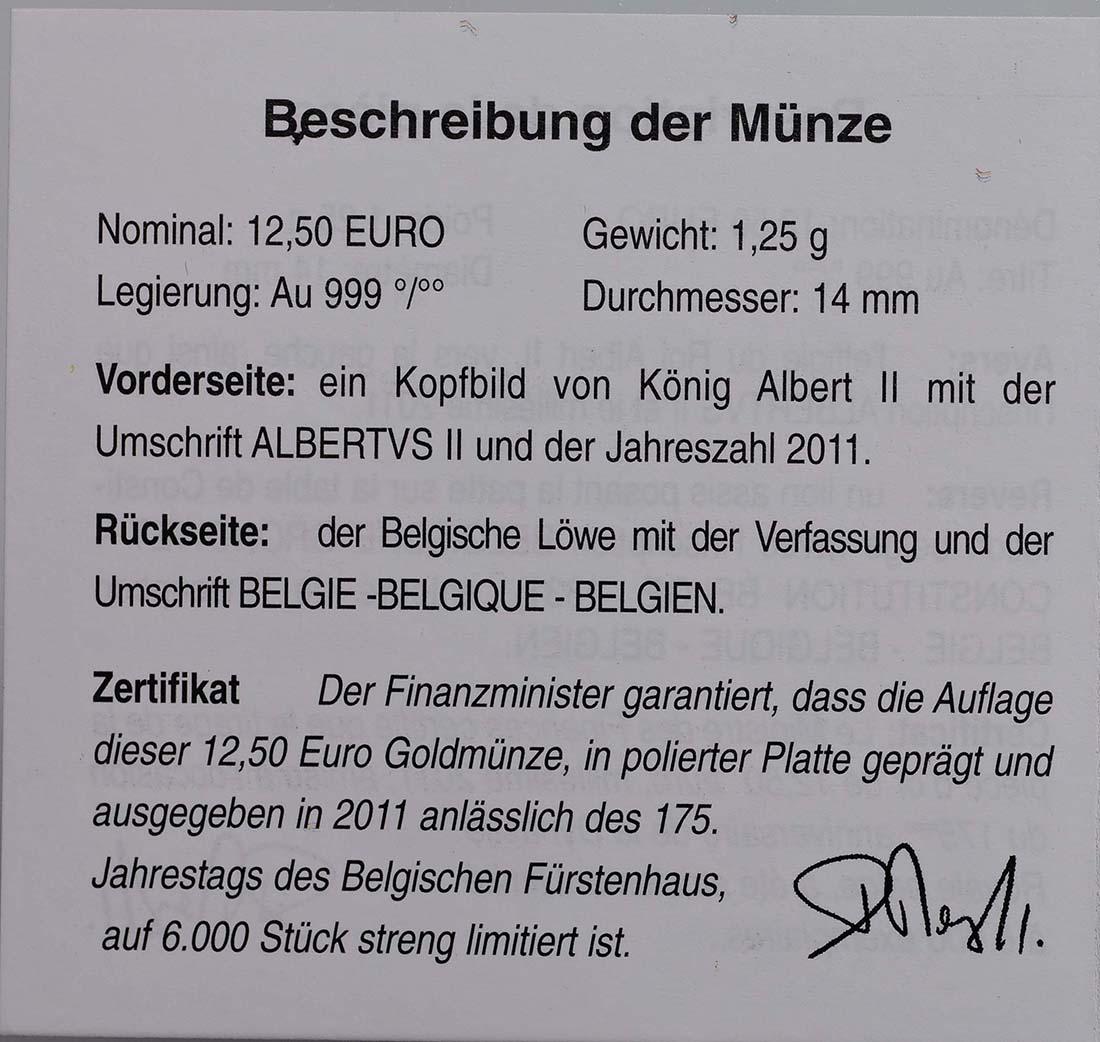 Zertifikat:Belgien : 12,5 Euro König Albert II.  2011 PP 12 1/2 Euro Belgien 2011