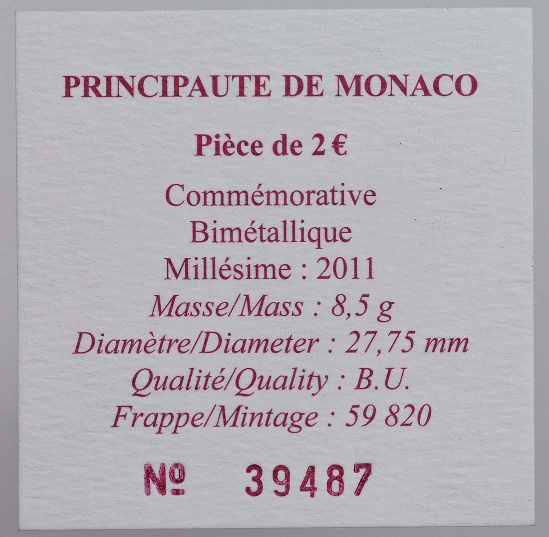 Zertifikat :Monaco : 2 Euro Hochzeit Charlene und Albert  2011 Stgl. 2 Euro Monaco 2011 Hochzeit