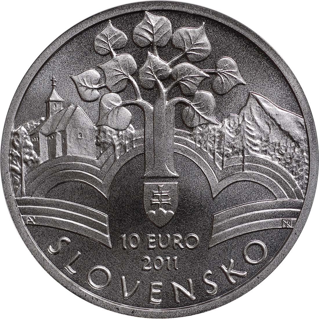 Rückseite:Slowakei : 10 Euro Memorandum  2011 Stgl.
