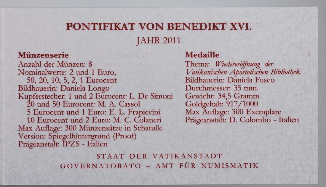 Zertifikat:Vatikan : 3,88 Euro original Kursmünzensatz aus dem Vatikan mit Goldmedaille  2011 PP