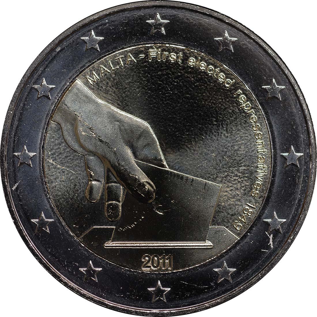 Rückseite:Malta : 2 Euro Wahl der ersten Abgeordneten 1849  2011 bfr