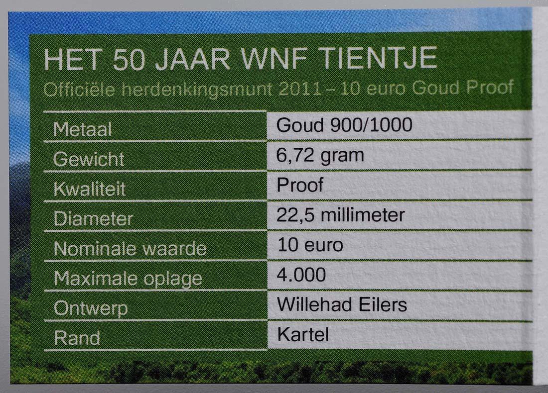 Zertifikat:Niederlande : 10 Euro 50. Jahre WWF  2011 PP