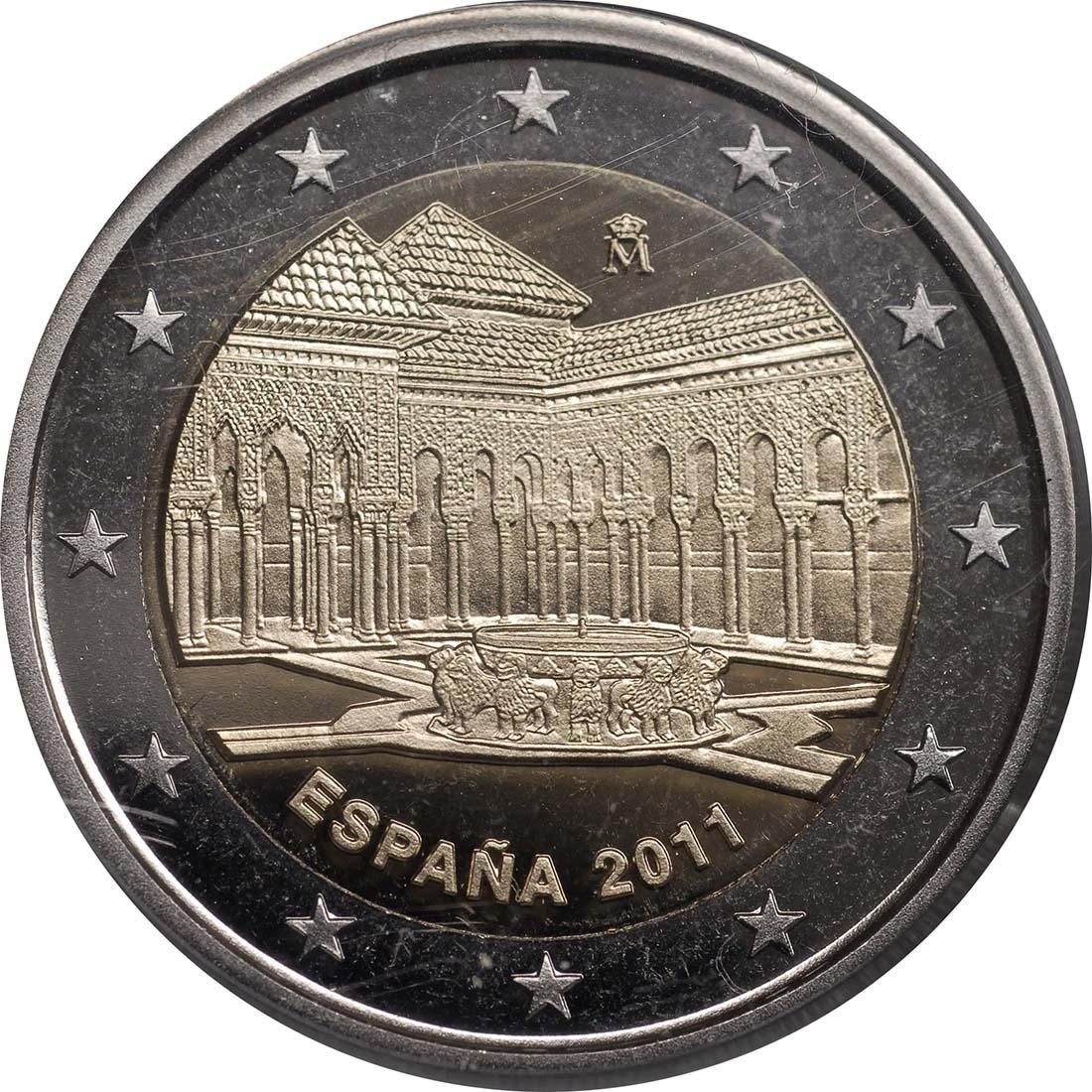 Rückseite :Spanien : 2 Euro Alhambra Granada  2011 PP