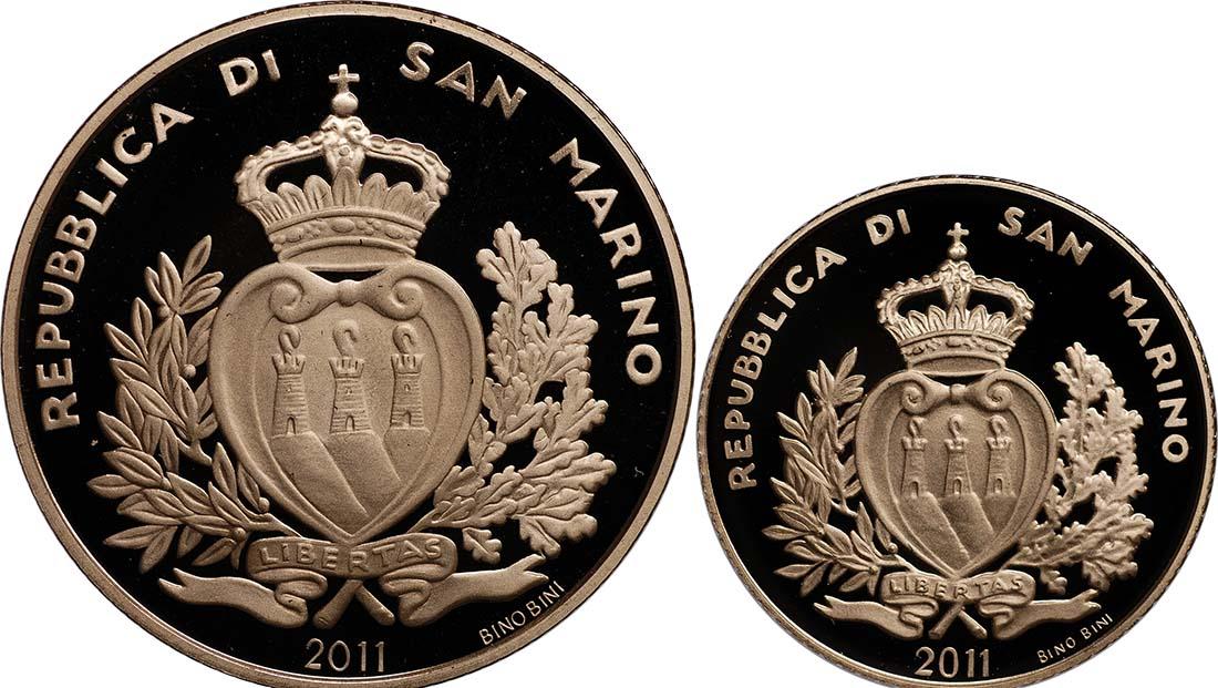 Rückseite:San Marino : 70 Euro Set aus 20 + 50 Euro Architektonische Elemente San Marinos  2011 PP