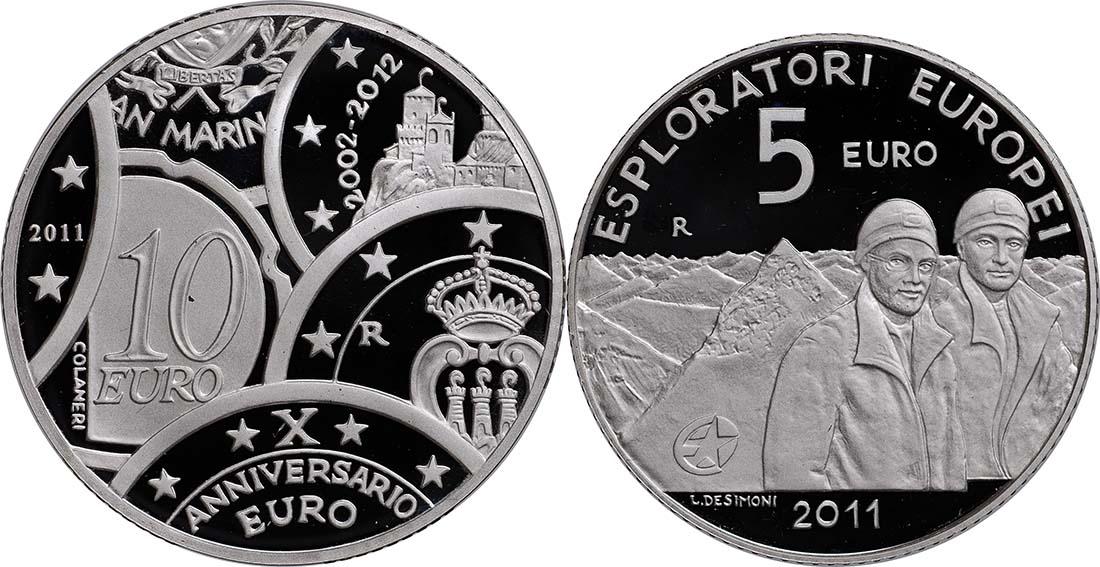 Vorderseite:San Marino : 15 Euro Set aus 5 Euro Entdecker, 10 Euro 10 Jahre Euro  2011 PP