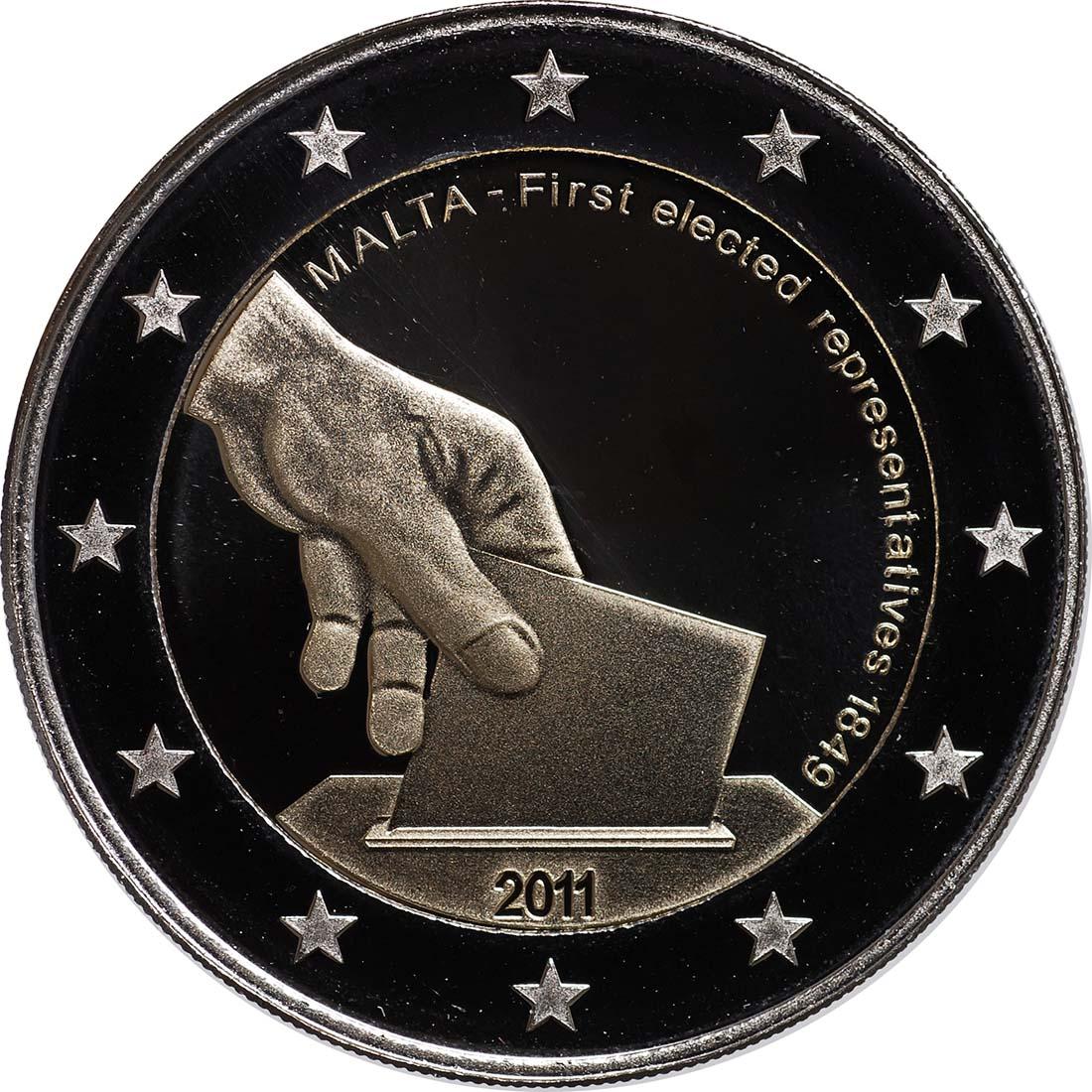 Rückseite:Malta : 2 Euro Wahl der ersten Abgeordneten 1849  2011 PP