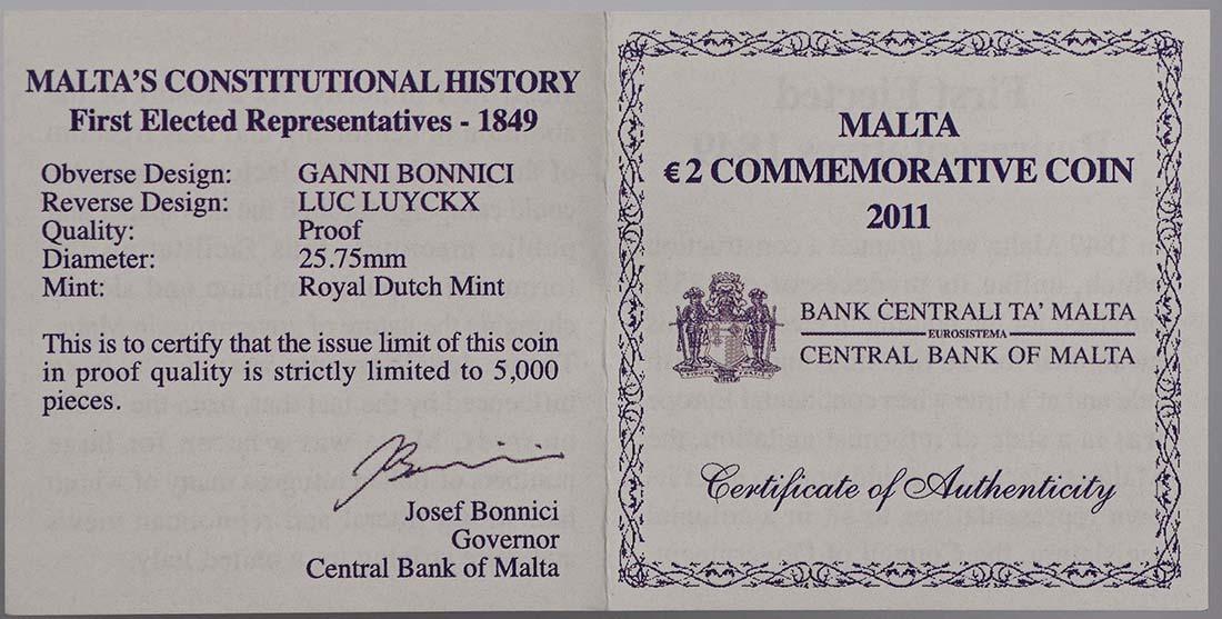 Zertifikat :Malta : 2 Euro Wahl der ersten Abgeordneten 1849  2011 PP