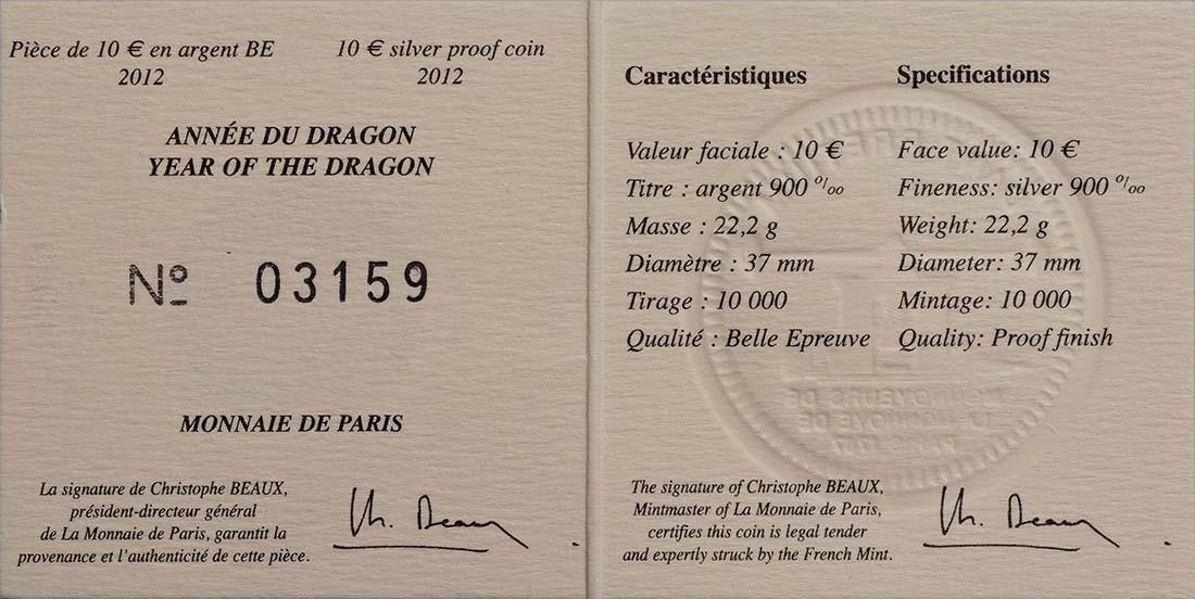 Zertifikat:Frankreich : 10 Euro Jahr des Drachen  2012 PP
