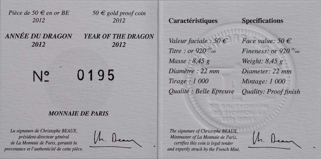 Zertifikat:Frankreich : 50 Euro Jahr des Drachen  2012 PP