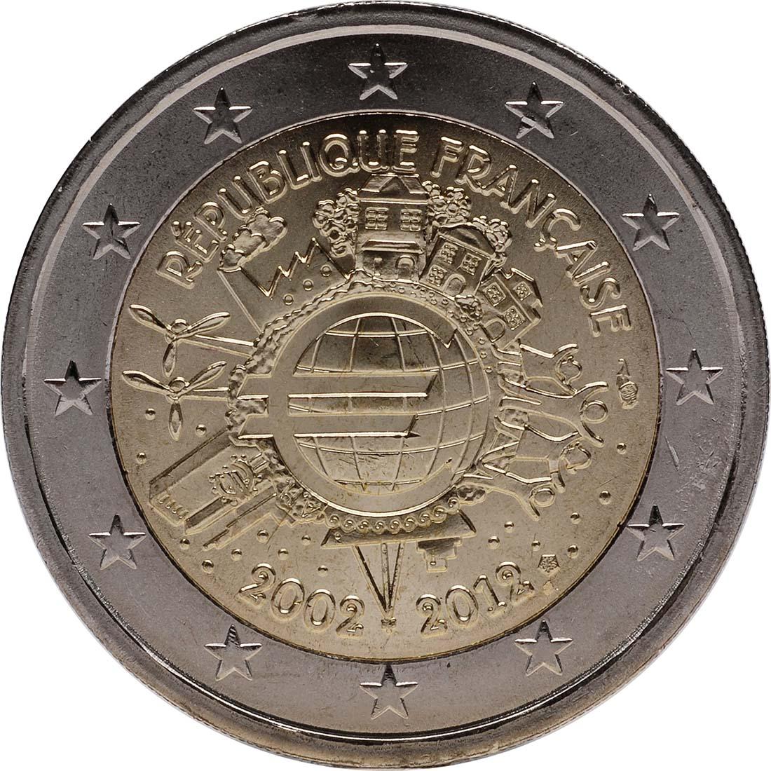 Rückseite :Frankreich : 2 Euro 10 Jahre Euro Bargeld  2012 bfr
