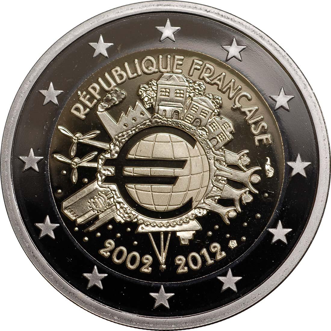 Rückseite :Frankreich : 2 Euro 10 Jahre Euro Bargeld  2012 PP