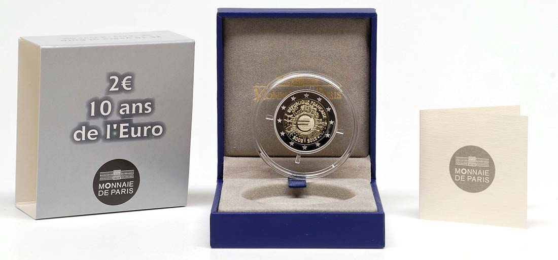 Lieferumfang :Frankreich : 2 Euro 10 Jahre Euro Bargeld  2012 PP