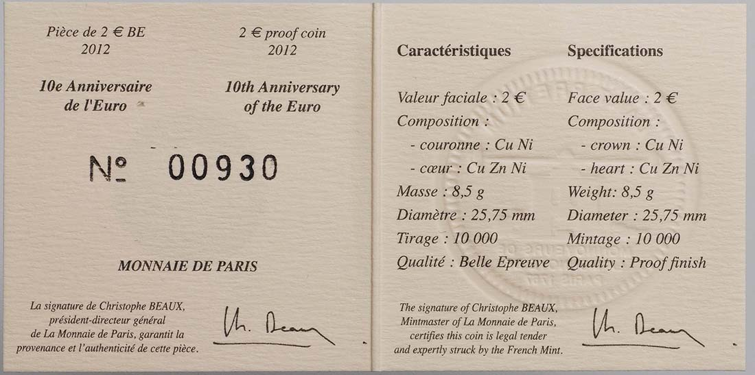 Zertifikat :Frankreich : 2 Euro 10 Jahre Euro Bargeld  2012 PP