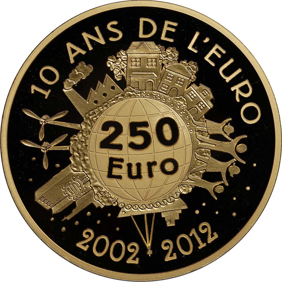 Vorderseite:Frankreich : 250 Euro 10 Jahre Euro Bargeld  2012 PP