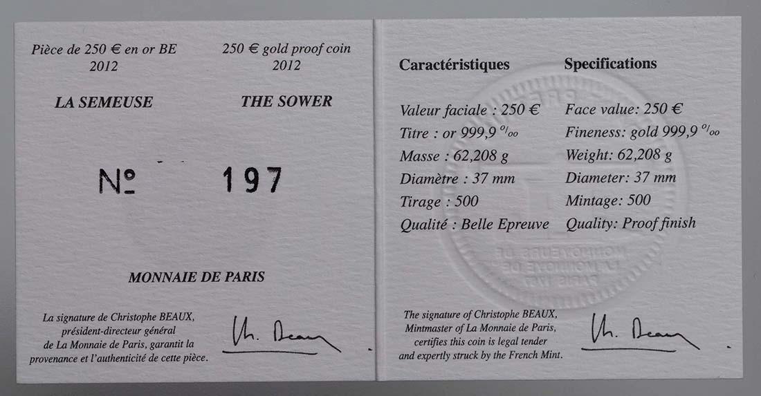 Zertifikat:Frankreich : 250 Euro 10 Jahre Euro Bargeld  2012 PP
