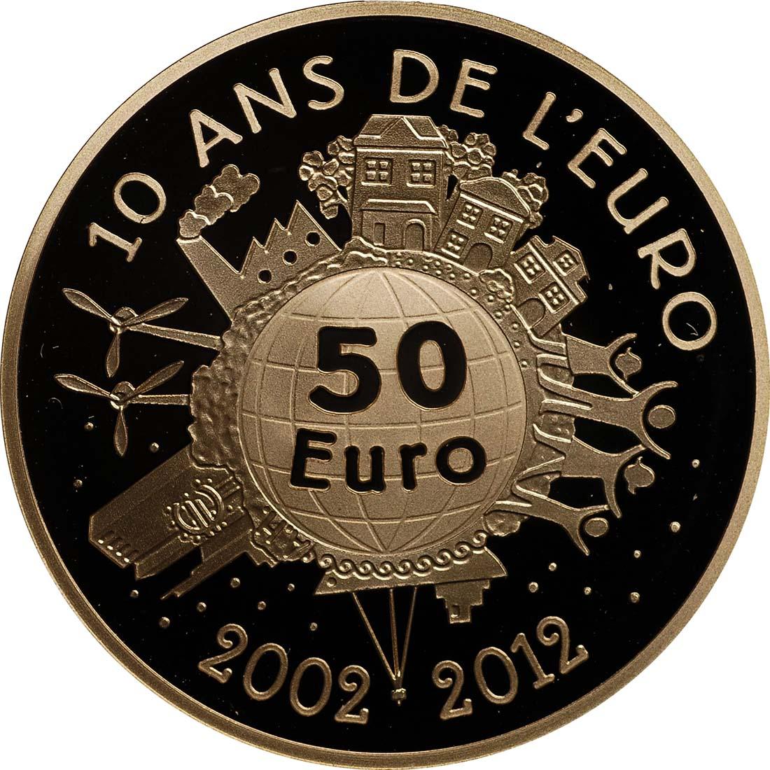 Rückseite:Frankreich : 50 Euro 10 Jahre Euro Bargeld  2012 PP