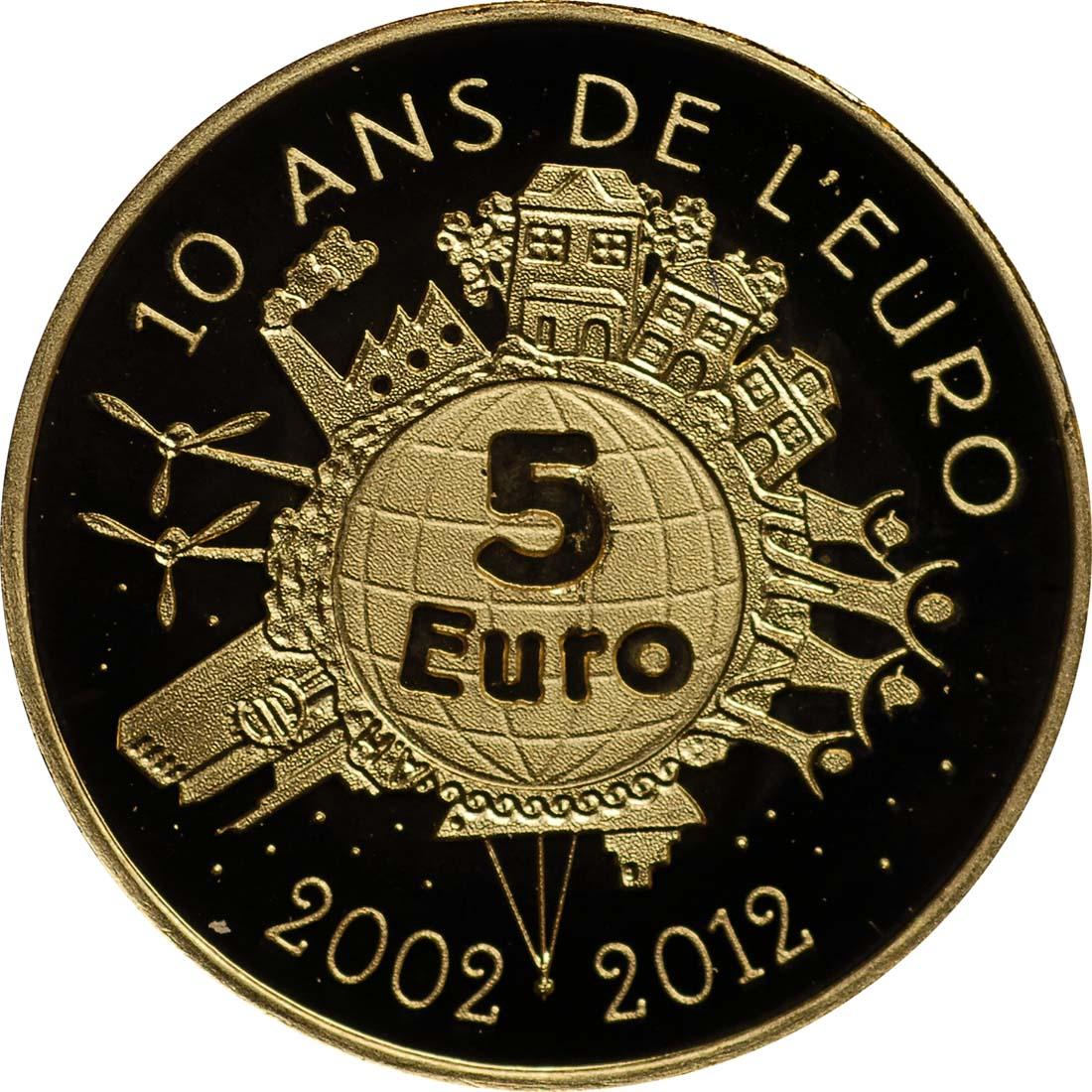 Vorderseite:Frankreich : 5 Euro 10 Jahre Euro Bargeld  2012 PP
