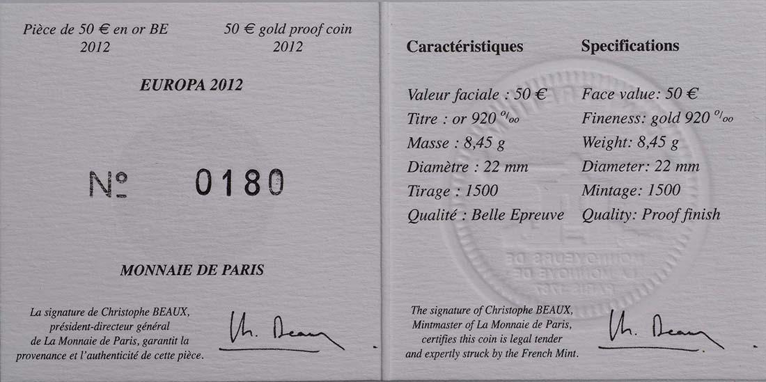 Zertifikat:Frankreich : 50 Euro 20 Jahre Eurokorps  2012 PP